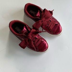 Puma Girls Burgundy Ribbon Lace Sneakers